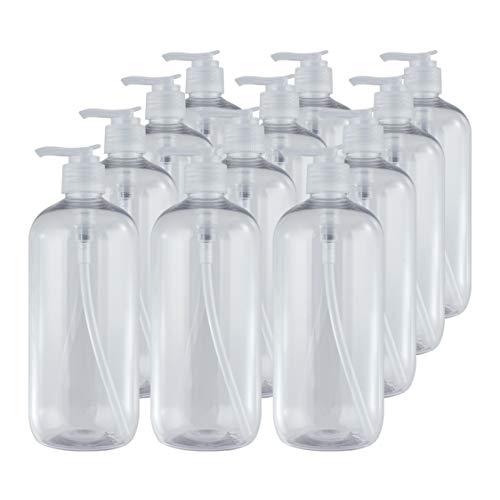 Bote dispensador de Gel rellenable 500 ml. Frasco dosificador hermético de plástico Pet Transparente para jabón, champú, lociones, hidroalcohol. (12 Unidades).