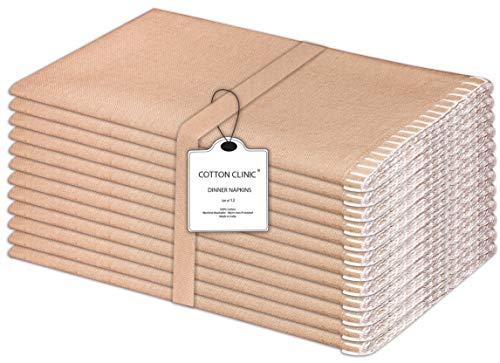 Baumwolle-Klinik 12er-Set Stoffservietten, Klassisch Servietten Hochzeit, 100% Baumwolle Servietten Maschinenwaschbar - 50x50 cm Beige Weiss