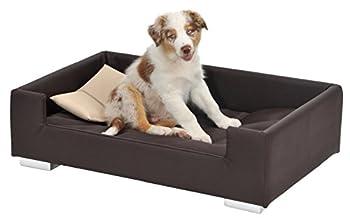 Animal-design Canapé pour chien en cuir synthétique avec coussins décoratifs Disponible en gris, marron, nougat, bordeaux ou taupe