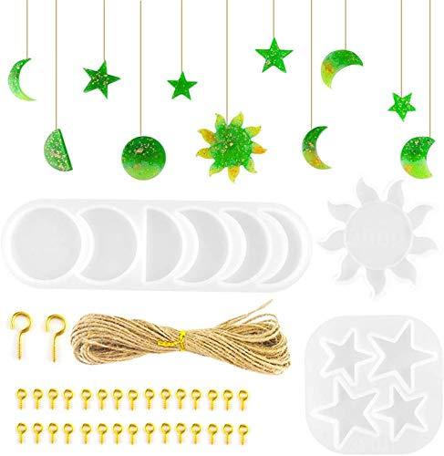 3 Piezas Moon Sun Star Phase Resina Moldes De Silicona Lunar Eclipse Crescent Casting Moldes para Manualidades DIY Colgante De Pared Proyecto De Decoración del Hogar