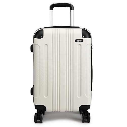 Kono 24' Travel Trolley Case Hard Shell ABS Light Weight Suitcase with 4 Spinner Wheel Fashion Luggage for Business Holiday (24' White)