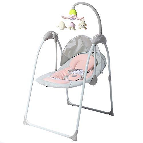 LLZH Sillita Columpio para Bebé, Balancín Automático Portátil y Plegable de 8 velocidades, con Sensor de Sonido y Música Relajante,Rosado