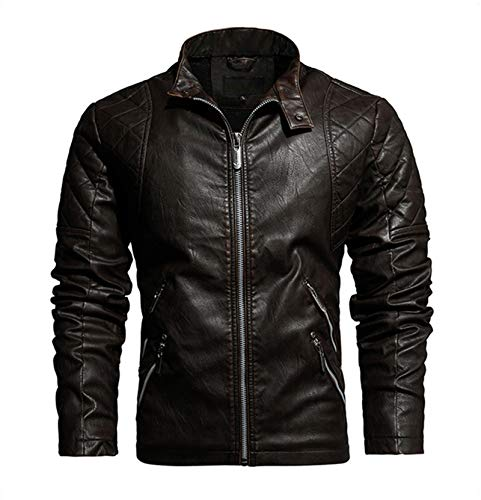 EverNight Männer Biker Retro-Jacke, Motorrad Leichte Jacken, Stand-Kragen-Winter-Reißverschluss-Buttons Fashion Coat,Braun,XXXL