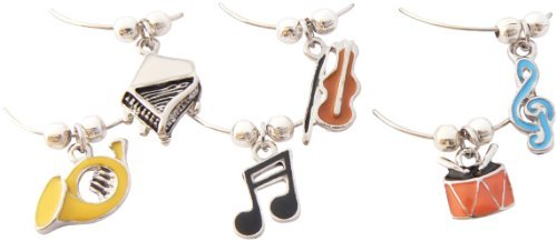 Music Themed Enamel Wine Glass Charms