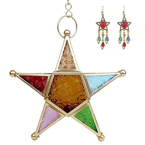 XIAKE Farolillos con forma de estrella, portavelas, metal, salón, cristal, lámpara de...