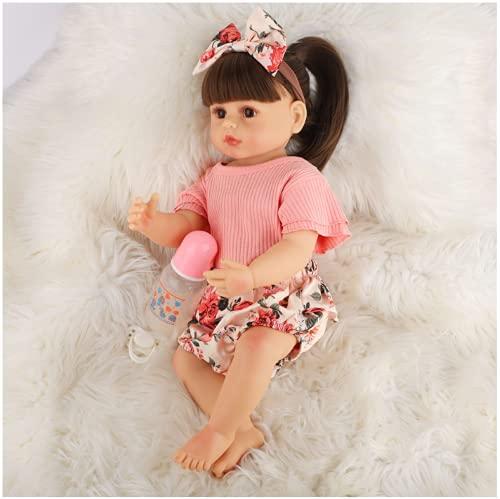 YANRU Silicona NiñA ReciéN Nacida, 22 Inch 55 Cm MuñEca Renacimiento, Silicona Blanda Picardias - For 3-10 Baby Gifts