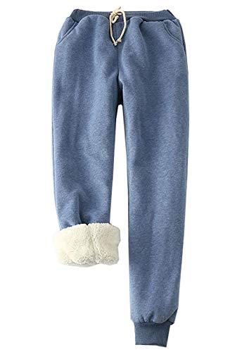 Flygo Women's Winter Warm Fleece Joggers Pants Sherpa Lined Sweatpants Active Track Pant (Blue, Small)
