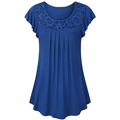 Xinantime Womens Ladies Solid Lace Patchwork Ruched Blouse Short Sleeve Tops Shirt (Blue,XL)