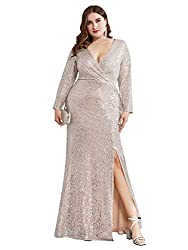 Rose Gold Long Sleeve Plus Size Sequin Gowns with  Side Split 0824