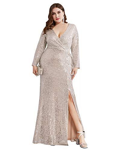 Women's Long Sleeve Plus Size Sequin Gowns Side Split Evening Dress Rose Gold US14