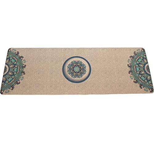 QWSA Caucho Natural Lino Natural Mat de Yoga Mat de Alta Densidad Fitness Mat de Goma patrón Beautifual (Color : As Photo)
