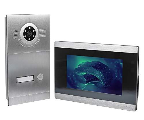 GVS 4-Draht/IP Video Türsprechanlage, Unterputz-Türstation IP65, 1x 7' Monitor, Handy-App, HD-Kamera 115°, Türöffner-Funktion, 32GB Foto-/Video-Speicher, PoE-Switch, 1 Familienhaus Set, AVS2025U