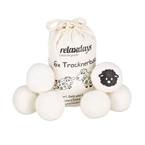 Relaxdays, weiß Trocknerbälle XXL, 6 Trocknerkugeln, Filzbälle für Trockner, aus Schafswolle, umweltschonend, Ø 7 cm