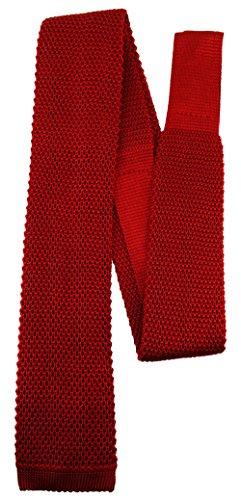 Blick. elementum - hochwertige Strickkrawatte in rot blutrot einfarbig Uni - Krawatte 100% Seide