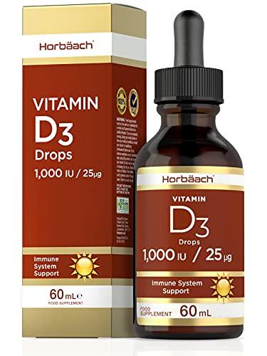 Vitamin D3 1000IU | 60 ml Liquid Drops | High Strength Immune Support | & for Healthy Bones, Teeth & Muscles | Non-GMO, Gluten-Free & Vegetarian Supplement