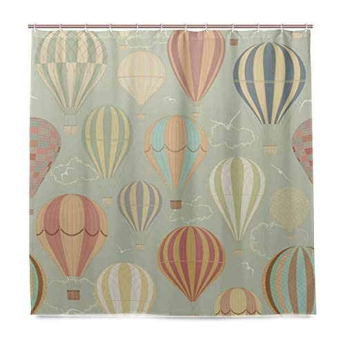 Wamika Badezimmer Dusche Vorhang Vintage Hot Air Luftballons Design Haltbarer Stoff Bad Vorhänge Schimmelresistent Wasserdicht Badezimmer 12Haken 183,0cm x183,0cm