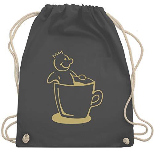 Shirtracer Lehrer - Kaffee König - Unisize - Dunkelgrau - Krone - WM110 - Turnbeutel und Stoffbeutel aus Baumwolle