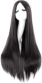 Black Carve Long Straight Cosplay Wig Anime Costume Party Wig