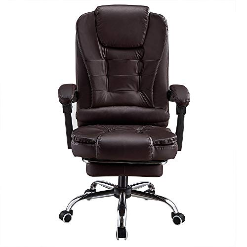 Executive Office Chair, PU leather Padded Recline, Computer PC Swivel Desk Chair with Adjustable Task Gas lift, PU leather (Brown)