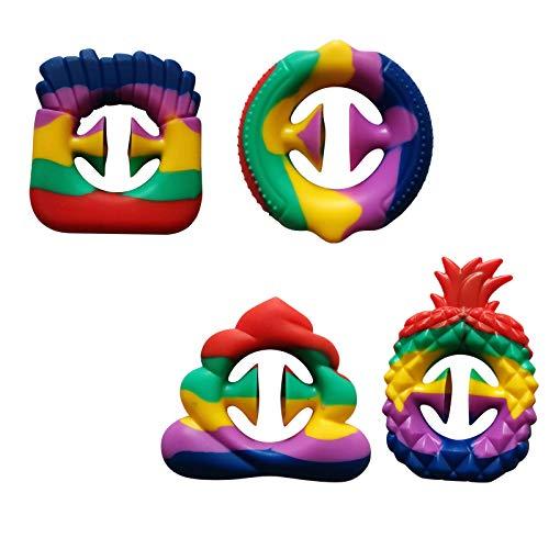 MARIJEE 4 pinzas de silicona para aliviar la ansiedad, juguetes de extrusión de juguete sensorial para aliviar el estrés, juguetes educativos para niños, regalo para niñas y niños
