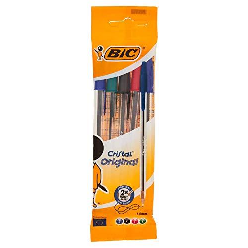 BIC Cristal Original - Bolígrafos punta media, 1.0 mm, Blíster de 5 unidades, Colores Surtidos,