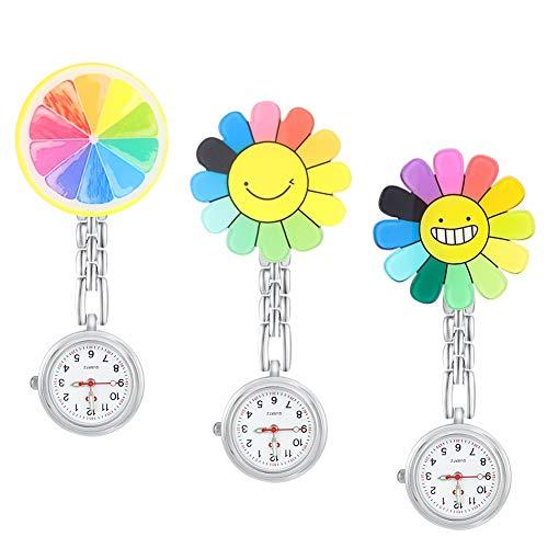 Opopark 3 Relojes de Enfermera,Relojes de Bolsillo de Girasol Relojes de Bolsillo con Colgante Doctor, Relojes de Bolsillo con Cuarzo Doctor con Hebilla