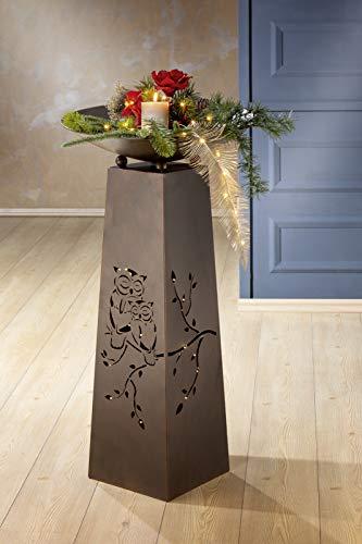 GILDE Metallständer Schalenständer Eulenpaar, 95cm hoch,Schale ca. 46cm im Durchmesser, braun