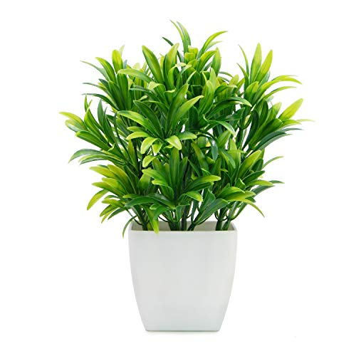 OFFIDIX Faux Plants Mini Potted Plastic Fake Green Plant Artificial Plants Aloe with White Square Pots for Home Decor (White Square Plastic Pots)