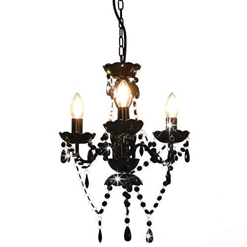vidaXL Lámpara de Araña con Cuentas Iluminación Interiores Diseño Extravagante Atrevido Moderno Óptima Iluminación Negras Redonda 3 Bombillas E14