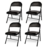 VECELO 4-Pack Metal Steel Folding Chair with PU Padded Seats Black