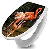 banjado Toilettendeckel mit Absenkautomatik | WC Sitz 44cm x 5cm x 37cm | Klodeckel weiß | Klobrille mit Edelstahl Scharnieren | Toilettensitz mit Motiv Flamingo