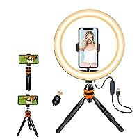 GENTLIGHT 10インチ 自撮りリングライト 調節可能なデスクトップスタンド&携帯電話ホルダー リモコン付き 調光可能な3ライトモード 明るさ10段階 写真撮影 メイクアップ YouTube ビデオ ライブストリーミング
