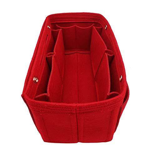 Felt Purse Organizer Insert Bag organizer Multi Pocket Bag in Bag Organizer For Tote & Handbag Shaper 8008 Red L