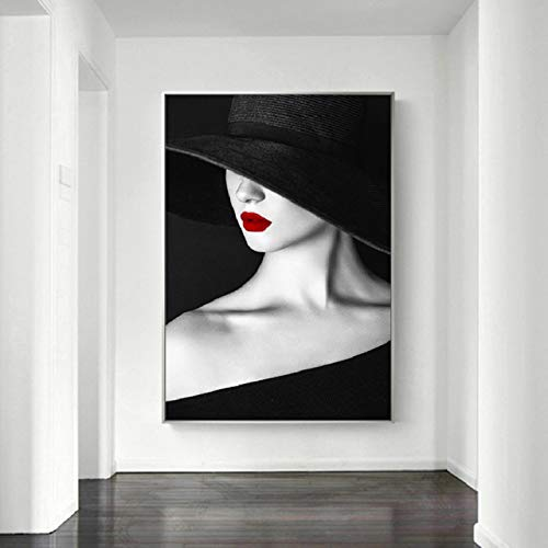 XIANGPEIFBH Modern Fashion Woman Prints Posters Canvas Painting Wall Art Pictures for Girls Bedroom Living Room Home Decorations 45x60cm(18'x24') Unframed