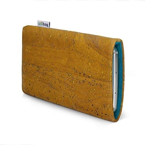 stilbag Handyhülle VIGO für Huawei Honor 5c | Smartphone-Tasche Made in Germany | Kork Ocker, Wollfilz Azur