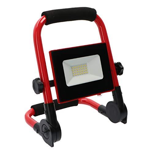 Foco proyector LED portátil plegable recargable USB 10W luz fría 6.000 K IP54. Protección contra impactos IK08. Batería Li-Ion 2200 mAh. Cable USB incluido. Aluminio extraplano. Cristal templado