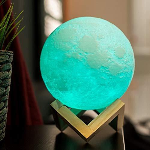 Luz de noche de luna 3D LED de color táctil de control remoto de la lámpara de escritorio regalos de la mesita de noche de los niños decoración de fiesta