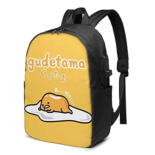 Mochila de viaje para portátil ligera con puerto USB, Divertido huevo perezoso amarillo Gudetama 1, Talla única