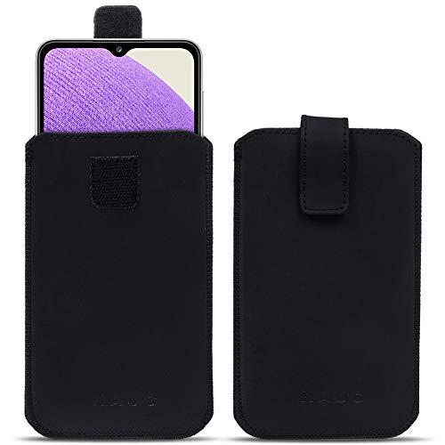 NAUC Schutzhülle kompatibel für Samsung Galaxy A32 5G Tasche Smartphone Lederhülle Pull Tab Handy Sleeve Hülle Cover Schwarz