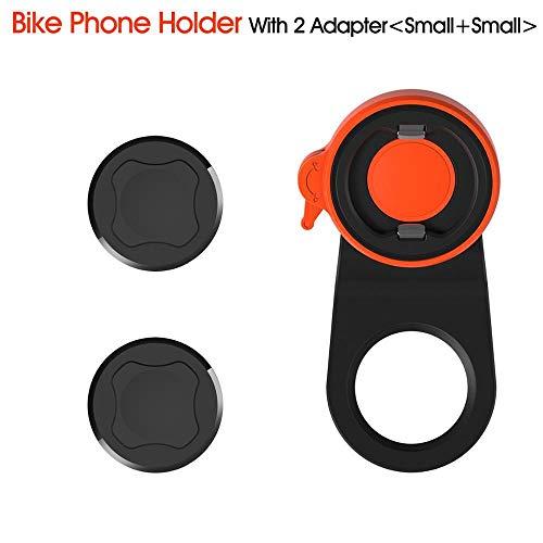 2DS Soporte universal para teléfono de bicicleta de montaña, horizontal/vertical, base de metal, hebilla firmemente, compatible con la mayoría de tamaños de teléfono móvil, Dos adaptadores pequeños.