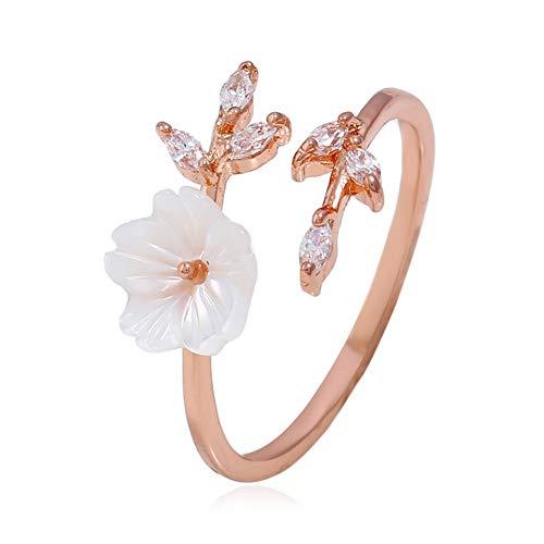 Ellepigy Anillo de apertura con diseño de flores de cerezo