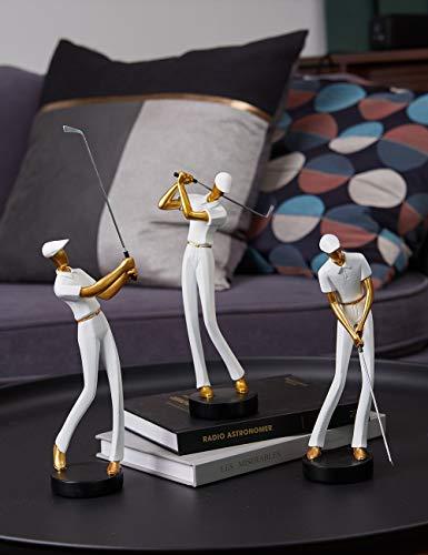Amoy-Art Skulptur Figur Golf Genius Statue Art Golfspieler Dekor für Haus Geschenk Andenken Giftbox Resin Weiß 24cmH - 7