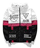 AITFINEISM Men's Lightweight Windbreaker Casual Color Block Jacket with Hooded (Medium, White-Black)