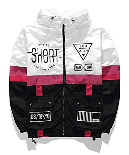 AITFINEISM Men's Lightweight Windbreaker Casual Color Block Jacket with Hooded (Medium, White-Black)