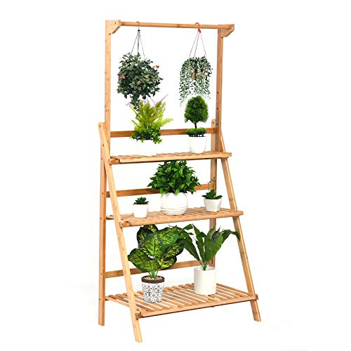 3 Tier Bamboo Hanging Plant Stand, Foldable Planter Display Rack,...