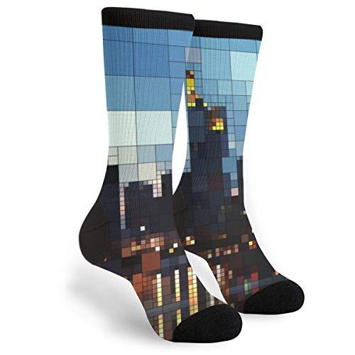 StockingsSki Socks Christmas Pine Tree Unisex High Socks Novelty Funny Dress Socks Trainer Socks High Boot Stockings 40CM