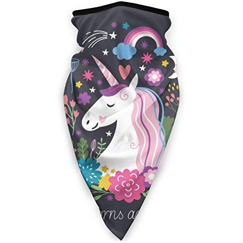 AEMAPE Einhorn sind echte Winddichte Sportschal-Gesichtsbedeckung Magischer Schal Bandana Sturmhaube für Frauen & Männer Kinder für Outdoor-Sportarten Wiederverwendbar Waschbar Schwarz-2SR