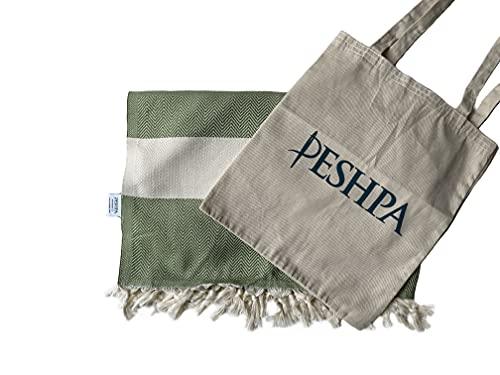 Peshpa Turkish Toalla De Baño&Playa - 100% Algodón Muy Suave Orgánica Peshtemal - Diseño de espiga - Para Baño, Camping, Yoga, Viaje, Piscina y Playa, Tamaño Grande, 100x180 Verde