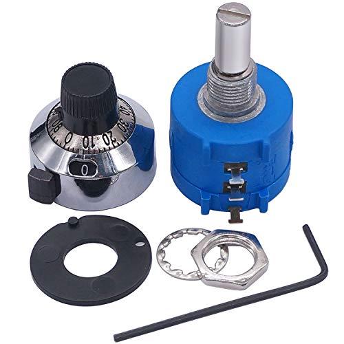 Taiss/ 10-Gang-Präzisionspotentiometer mit Drahtwicklung, Präzisionspotentiometer mit Drahtwicklung und mehreren Drehungen, einstellbarer 10-Ring-Widerstandszählknopf (3590S-2-502L 5k Ohm)