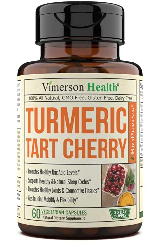 Turmeric Curcumin & Tart Cherry Extract, Celery Seed, BioPerine Dietary Supplement. Antioxidant Properties, Uric Acid Cleanse, Joint Comfort & Relief, Muscle Recovery, Healthy Sleep Cycles 60 capsules